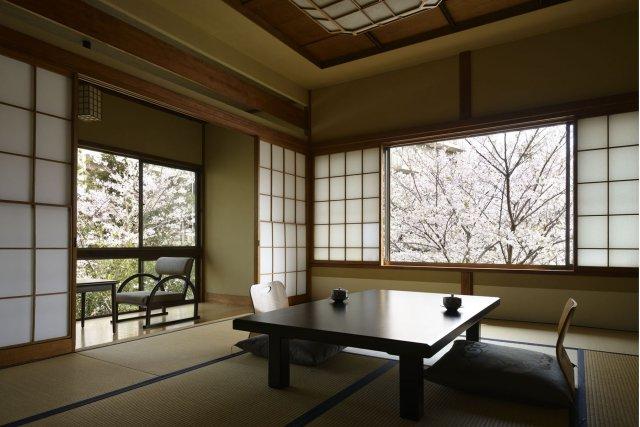 春には桜が眺められる客室も