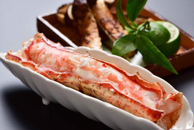 たらば蟹と国産松茸焼き